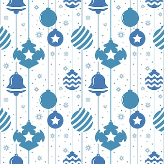 青い色のボールとクリスマスのシームレスパターン