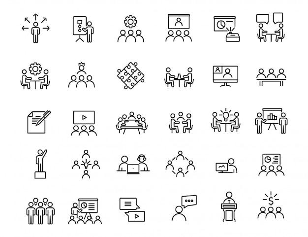 線形ビジネストレーニングアイコンのセット。シンプルなデザインのワークショップアイコン