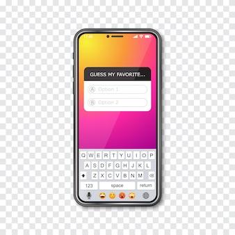 Смартфон с рамкой викторины социальной сети
