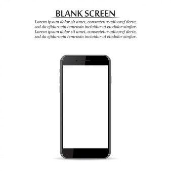 空白の画面白地に黒のスマートフォン