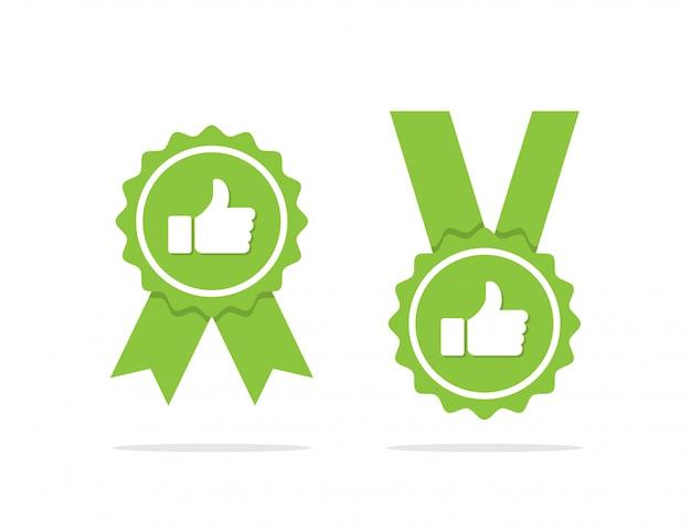 緑色の承認されたメダルまたは影付きの認定メダルアイコン。ベクトル図