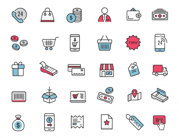 Набор иконок линейной электронной коммерции шоппинг иконки