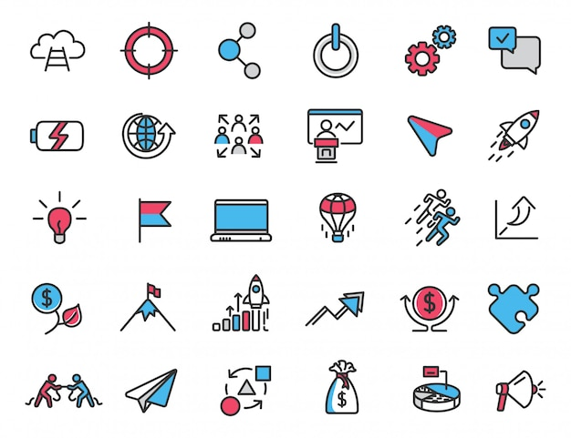 Набор иконок линейного запуска карьерные иконки