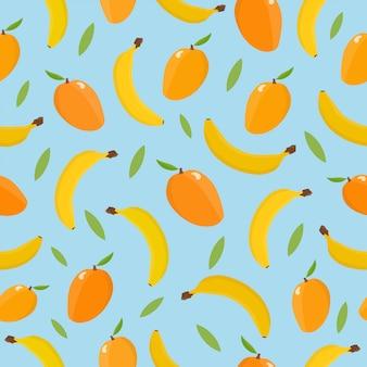 マンゴーとバナナのシームレスパターン。