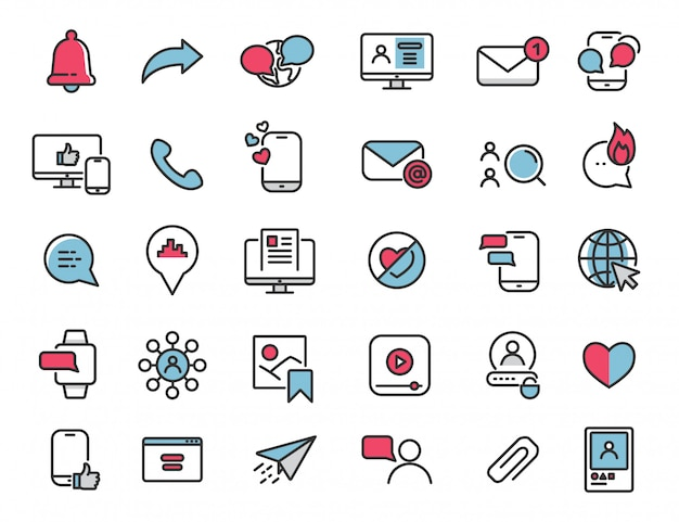 Набор иконок линейных социальных медиа интернет-иконки