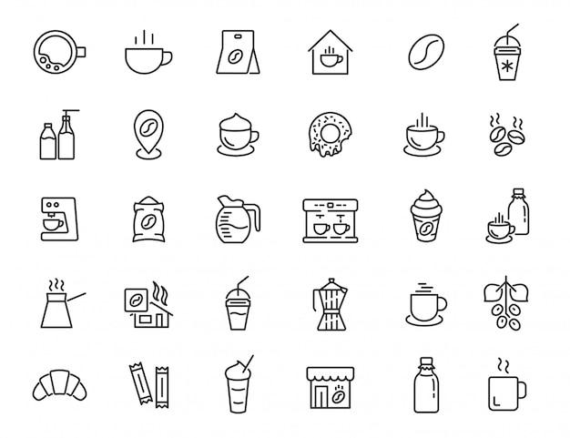Набор иконок линейной кофейни. кофейный напиток иконки в простом дизайне. векторная иллюстрация