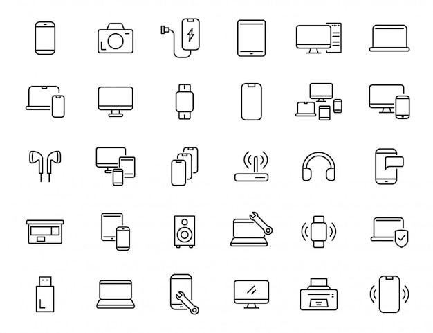 Набор иконок линейной электроники. компьютерные технологии иконки в простом дизайне. векторная иллюстрация