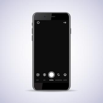 フラットアイコンが黒に分離されたカメラのインターフェイスフレームを持つスマートフォン