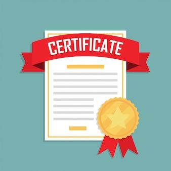 Значок сертификата с лентой и медалью в плоском дизайне