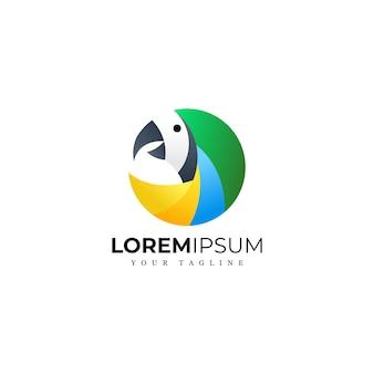 素晴らしいモダンなカラフルな鳥のロゴ