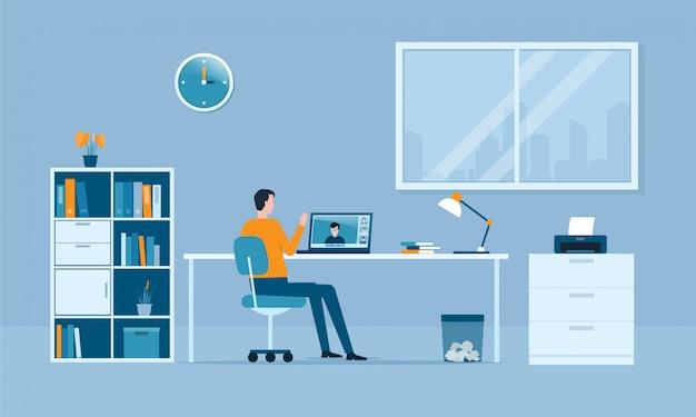 人々は家のコンセプトから仕事をし、スマートなオンライン作業はどこでもコンセプトを接続します
