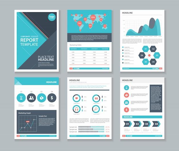 会社案内、年次報告書、パンフレット、チラシ、本のテンプレートレイアウトデザイン。編集可能なベクター。
