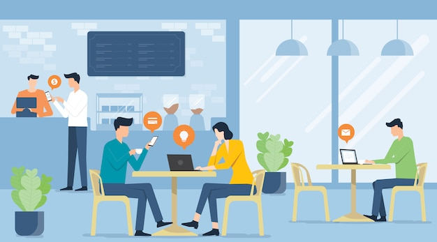 カフェショップとビジネスの将来の職場の概念で働くフラットベクトルビジネスチーム会議
