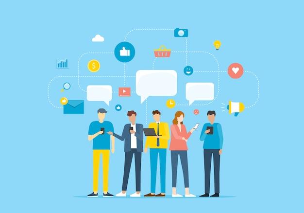 Групповые люди общаются с помощью мобильного приложения