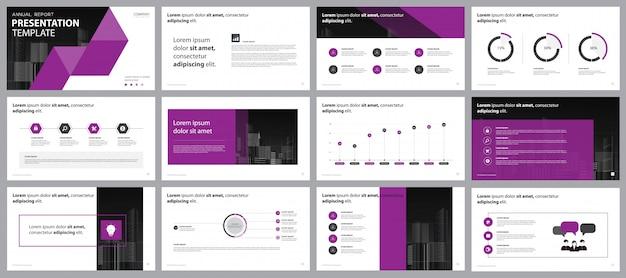 紫のビジネスプレゼンテーションページレイアウトデザインテンプレート