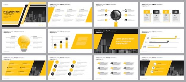 黄色のビジネスプレゼンテーションページレイアウトデザインテンプレート