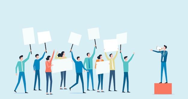 Плоский политический протест и политическое голосование с групповыми людьми, поднимающими концепцию правления