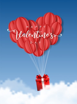 Счастливые сердца валентина оригами бумажные шары сердца с подарочной коробке и облака на синем небе иллюстрации