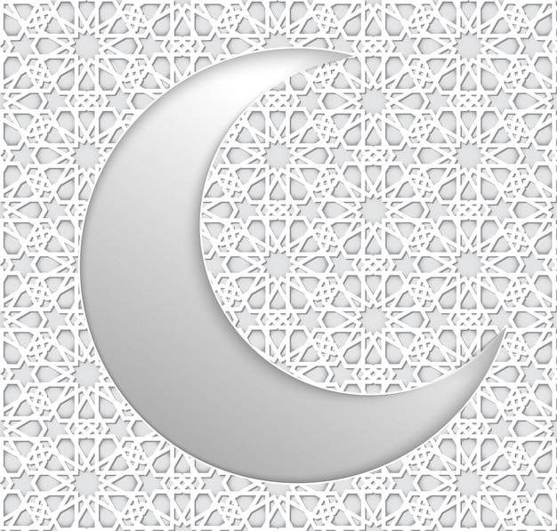 Рамадан фон исламский полумесяц и арабский узор