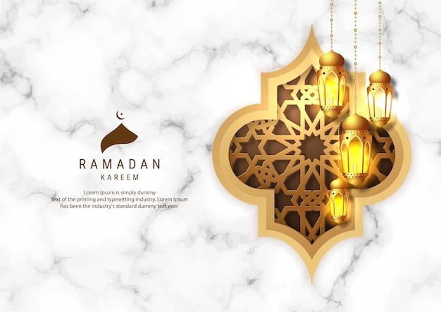 ラマダンカリームグリーティングカードデザイン。ゴールデンマーベルの背景にラマダンランタンをぶら下げ。イスラムのお祝い。
