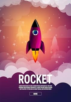 Концепция бизнеса идея запуска. ракетный корабль в плоском векторе