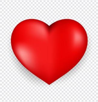 透明な背景に分離された赤いハート。幸せなバレンタインデーの挨拶テンプレート。