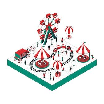 Изометрическая иллюстрация парка аттракционов