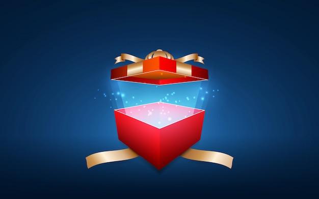 Ярко красная подарочная коробка с блестящими звездами.