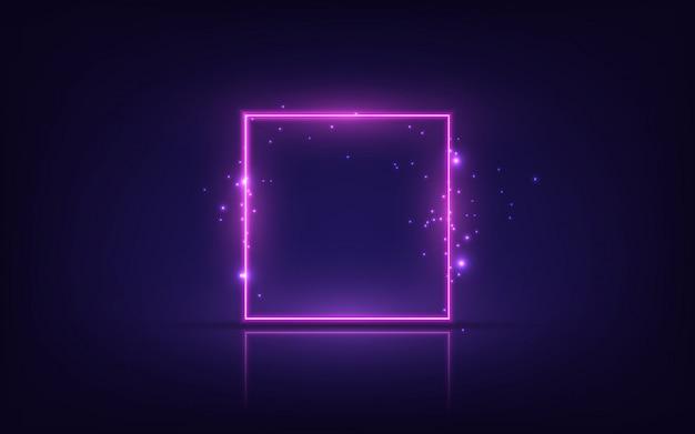 ネオンフレーム。輝く正方形のバナー。透明な背景に分離されました。