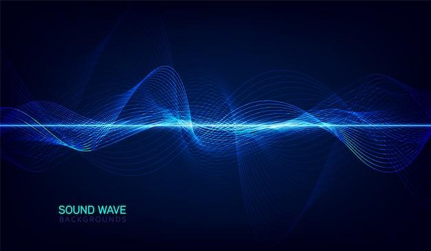抽象的なブルーデジタルイコライザー、音波パターン要素のベクトル