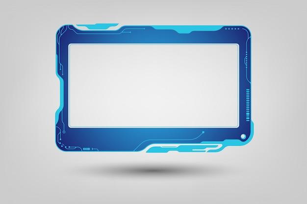 抽象的なハイテクサイエンスフィクションホログラムフレームデザインの背景