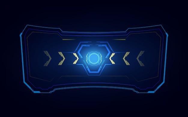 抽象的なハイテクサイエンスフィクションホログラムフレームテンプレートデザイン