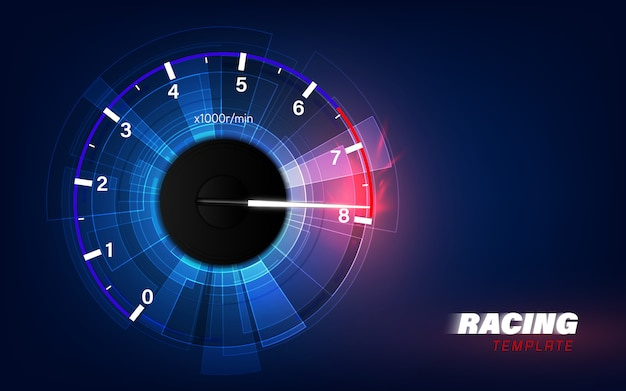 高速スピードメーター車でモーション背景をスピードアップします。レーシング速度の背景。