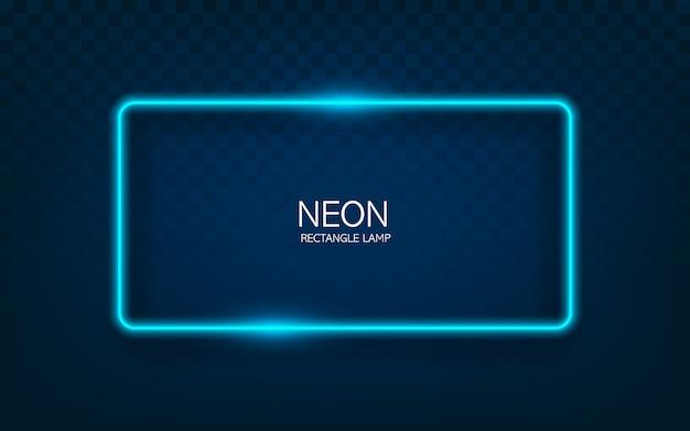 Неоновый прямоугольник лампа стены знак, изолированных на прозрачном фоне. синий светящийся шарик баннер, светлая линия или неоновая рамка для вашего дизайна.