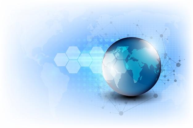 地球の背景に抽象的なデジタル技術の接続