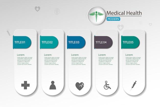 紙のインフォグラフィックの背景に医療