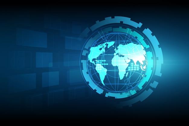 グローバルビジネスの最高のインターネットの概念。グローブ、技術的背景に輝く線。