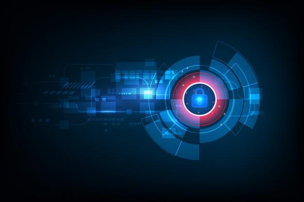抽象的なデータセキュリティの概念と未来的な電子技術の背景、ベクトルイラスト