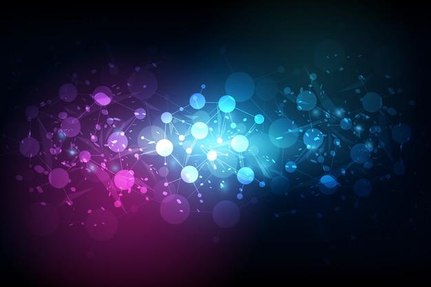 抽象的な未来的な - 線形および多角形の背景を持つ分子技術