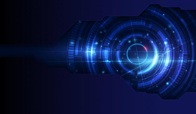 コンピューターグラフィックのウェブサイトとインターネットのための青い光の抽象的な技術の背景