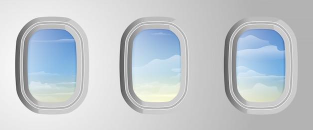 外の曇りの青い空と飛行機の窓。飛行機からの眺め。航空機の窓に雲と空。ベクトルイラスト