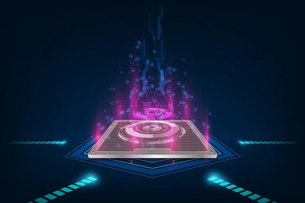 Будущий компьютерный процессор, фон электронных технологий, векторное поколение процессоров