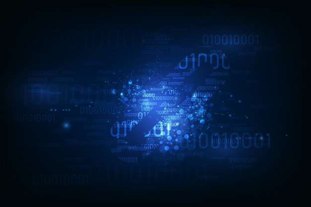 バイナリコード番号上のブロックチェーンハイパーリンクシンボルはビッグデータフロー情報です。