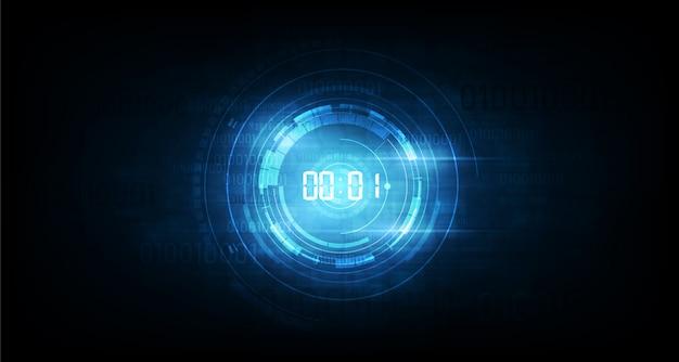 デジタル番号タイマーの概念とカウントダウン、透明な抽象的な未来的な技術の背景