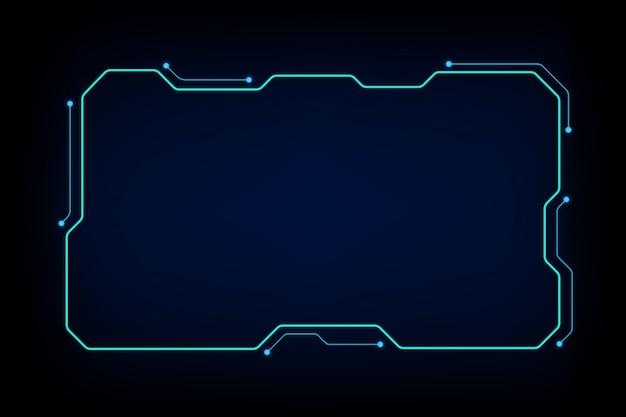 抽象的なハイテクサイエンスフィクションホログラムフレームテンプレートデザインの背景