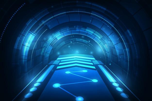 こんにちはハイテクスピード接続未来的なコンセプトの背景
