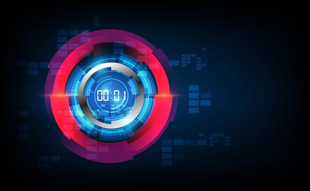 デジタル番号タイマーの概念とカウントダウン抽象的な未来的な技術の背景
