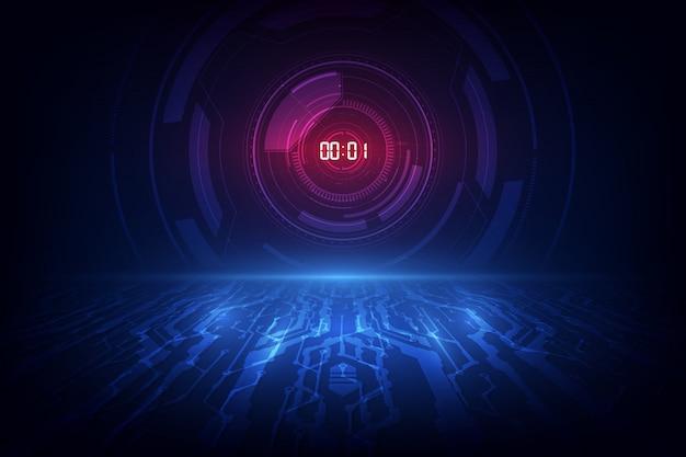 Абстрактная футуристическая предпосылка технологии с концепцией и отсчетом времени таймера цифрового номера.