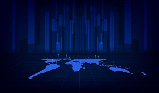 抽象的な世界地図デジタルテクスチャパターン技術革新コンセプトの背景