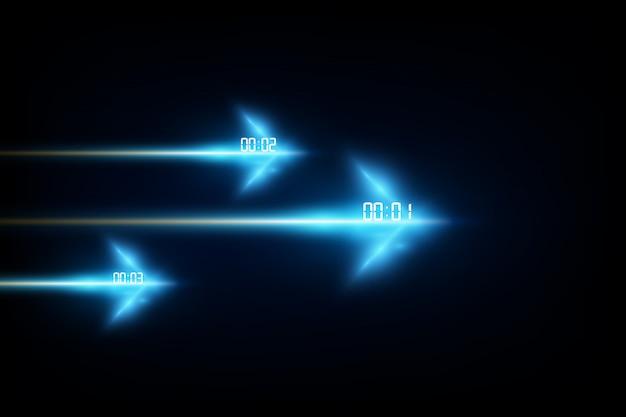 デジタル数字タイマー概念と抽象的な未来技術の背景